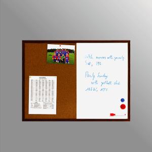 Bảng combo ghim lie từ trắng khung nhựa gỗ