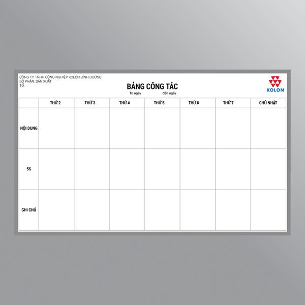 Bảng lịch công tác tuần