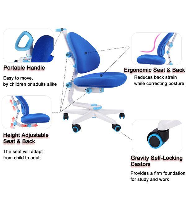 các bộ phận của ghế chống gù chống cận