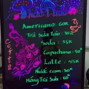 Vẽ bảng led huỳnh quang quán cafe