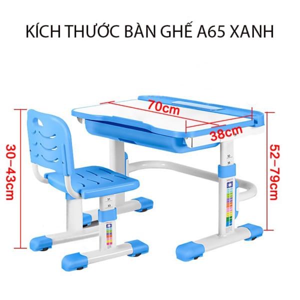 Kích thước bộ bàn ghế a65 xanh